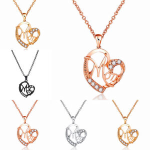 Silver-Rose-Gold-Love-Heart-Mom-Pendant-Chain-Necklace-for-Mum-Mother-039-s-Day-Gift