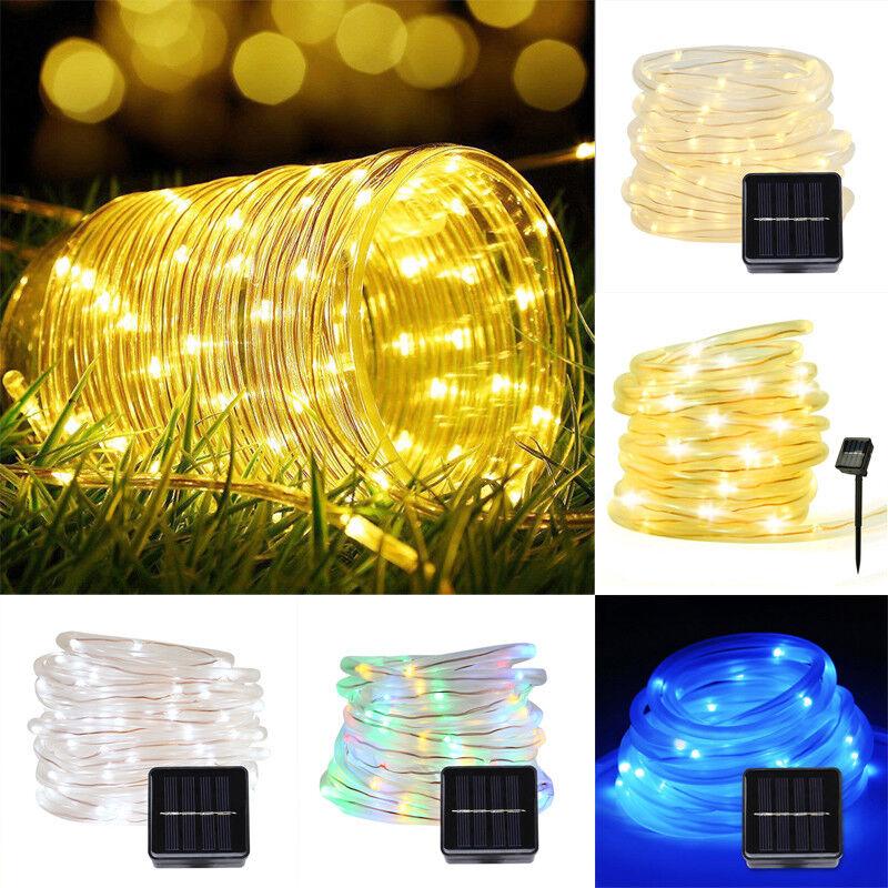 12M 100LED Waterproof Solar Power String Fairy Light Rope Tube Garden Lamp Xmas 9