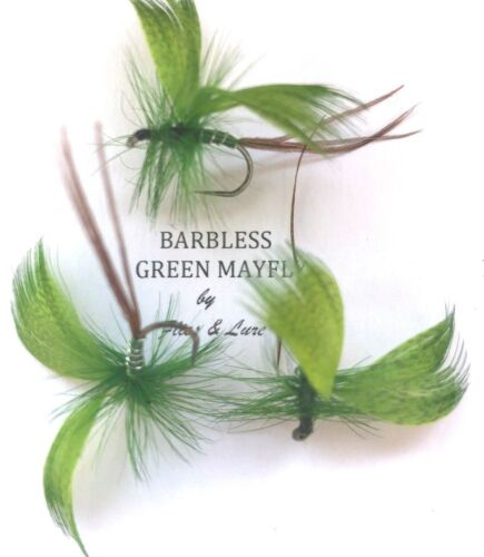 3,4 or 6 Trout Fly Fishing BARBLESS DRY Flies GREEN DRAKE MAYFLY Multi-hook