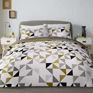 GEO TRIANGLES WIDE STRIPES OCHRE GOLD COTTON BLEND SUPER KING DUVET COVER