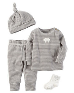 Carters 6 9 Months 4 Piece Gift Set Baby Boy Clothes Hat Socks Tee