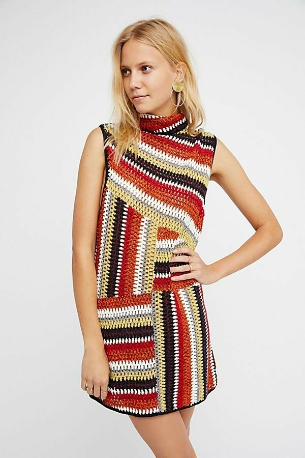 New Free People Just Just Just a Crush  Crochet Sweater Multi color Size Small Retail  148 f2443d