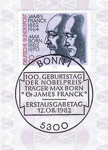 Rfa 1982: James Franck Et Max Born! Nº 1147 Avec Bonner Cachet Spécial! 1a! 155-afficher Le Titre D'origine Ferme En Structure