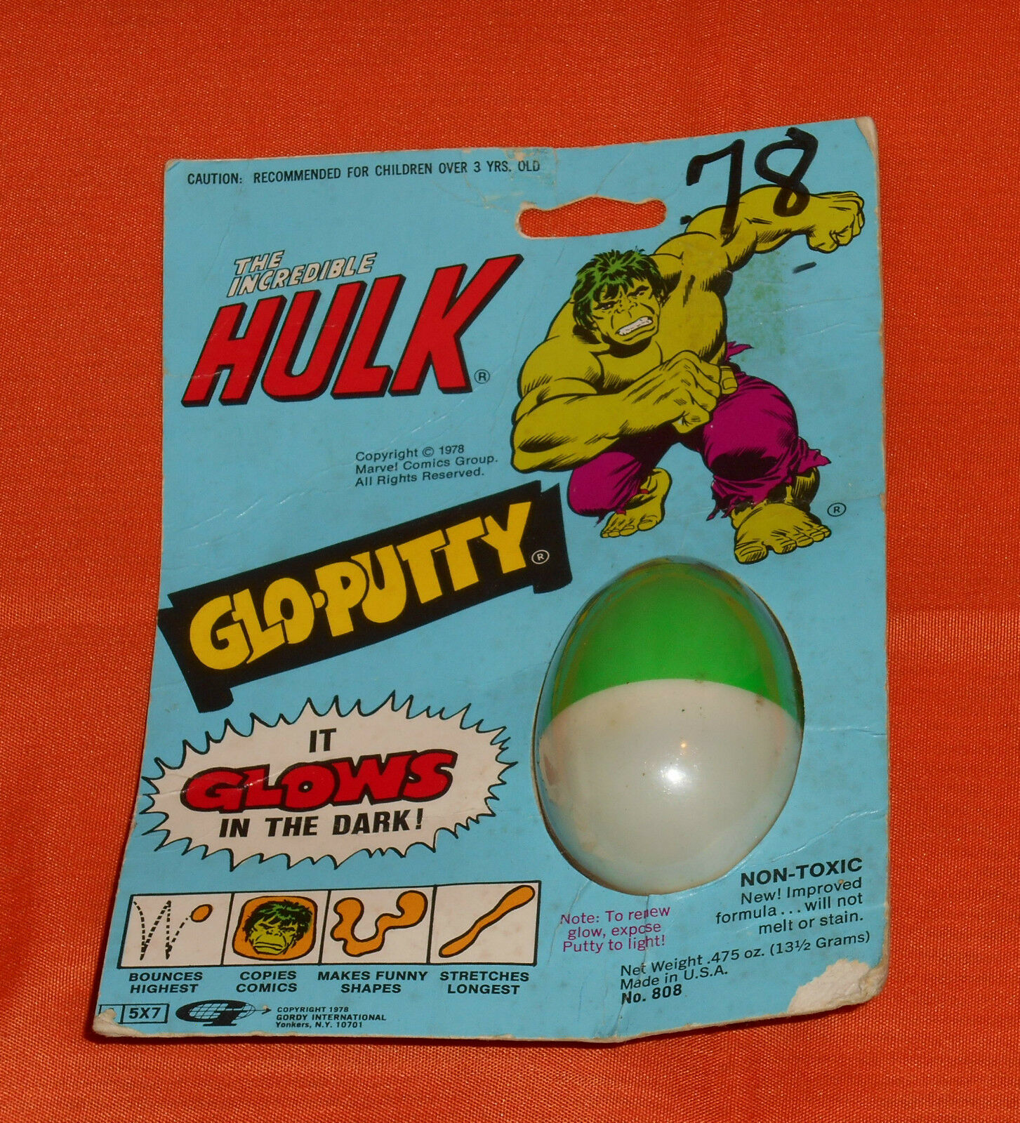 Vintage Gordy THE INCrotIBLE HULK GLO-PUTTY MOC