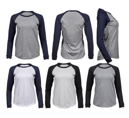 Damen Baseball T-Shirt Langarm Longsleeve Shirt Tee Jays
