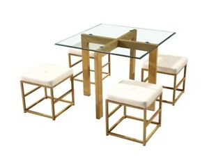 new styles 480e4 c5208 Details about Compact Dining Table and Chairs Space Saving Glass Kitchen  Set 4 Small Stools