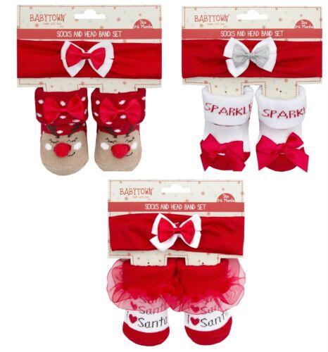 Baby Noël chaussette et bandeau Set//Cadeau De Noël ~ 0-12 mois