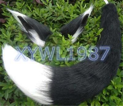 Halloween Long Fur Fox Anime Black Plush Headband Ear + Tail Cosplay Tails prop