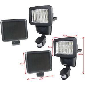 2 PACK 100 SMD LEDs Black Solar Powered Motion Sensor Security Light Flood 60 80