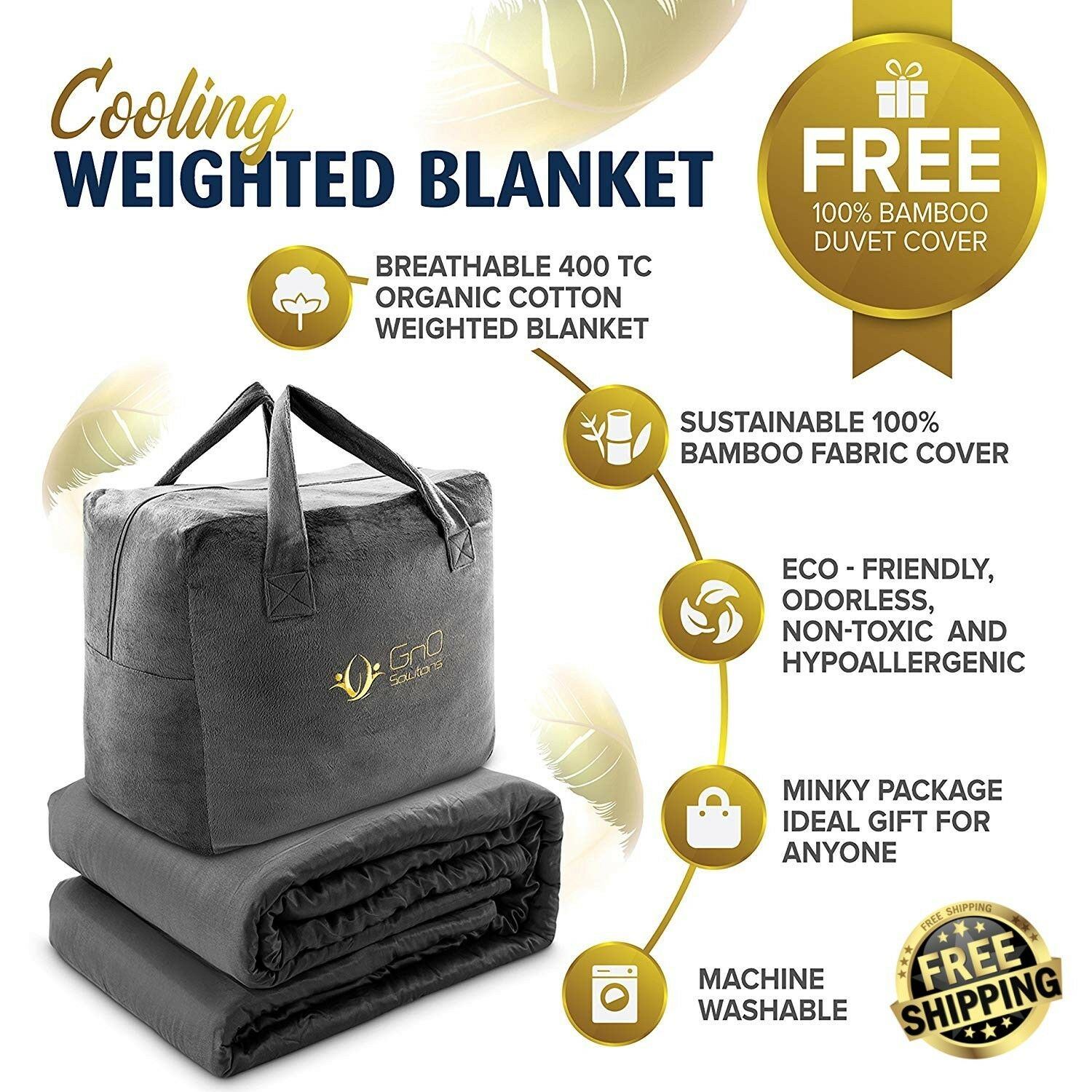 Premium Natural Cooling Weighted Gravity Blanket and Duvet Cover for All Seasons