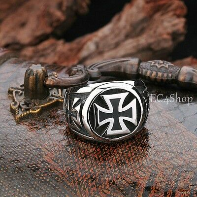 Men's Biker World War II German Knight Iron Cross Pattée Stainless Steel Ring