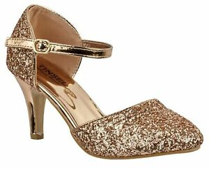 Donna Rose Gold Glitter BASSE GATTINO TACCO Cinturini Alla Caviglia Mary Jane Scarpe/Sandali
