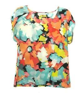Trina Turk Women Colorful Floral Cap Sleeve Silk Top Blouse siz M - L Stretch AO