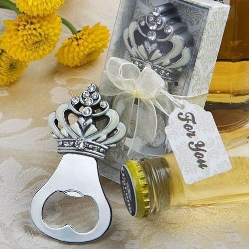 20 Rhinestone Accent Royal Crown Bottle Opener Wedding Bridal Shower Party Favor