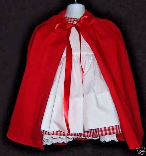 Little Red Riding Hood 4 pc Dress Apron Petticoat Cape Costume Outfit sizes 2-8