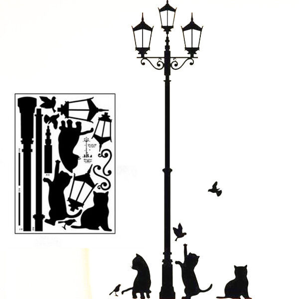 New Arrive Removable Lamp Cat Wall Stickers Decal for Home Stairs Sticker Decals