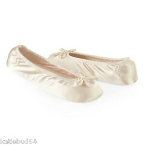 Ladies-Isotoner-Satin-Stretch-Ballet-Style-Slippers-CREAM-Ivory-Soft-suede-sole
