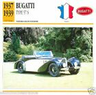 BUGATTI TYPE 57 S 1937 1939 CAR VOITURE FRANCE CARTE CARD FICHE
