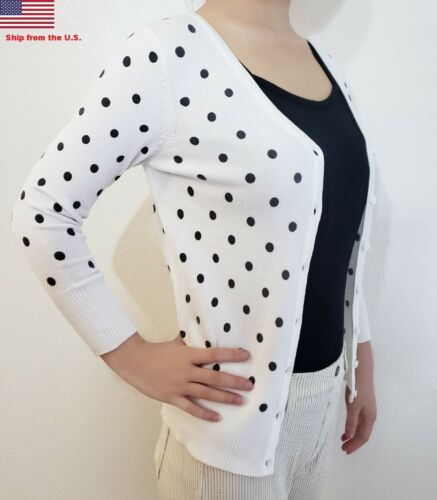 Fitted Women Bubble Dot Cardigan Soft Knit 3//4 Sleeve V-Neck Button Down Sweater