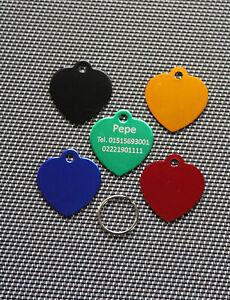 Cani marchio, Cuore di metallo, incisione, a scelta 5 colori, alluminio, rimorchio  </span>
