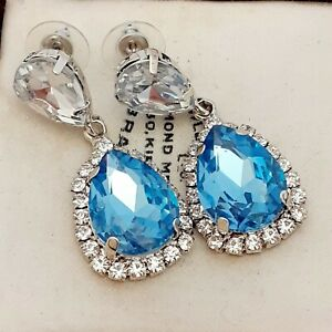 Vintage-Style-Diamante-Baby-Blue-Dangle-Pear-Drop-Statement-Earrings