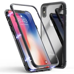 save off 24c0b ba2db Details about Luxury Magnetic Metal Frame Tempered Glass Back Cover Case  For iPhone X 7 8 Plus