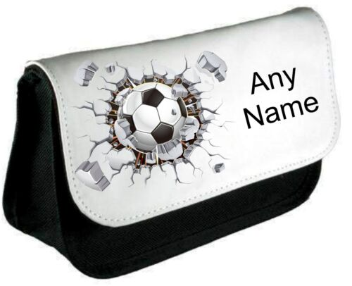 Personalised FOOTBALL WALL Pen//Pencil Case *Choice of text colour*
