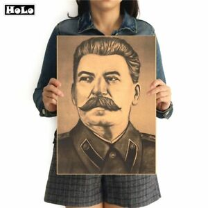 Josef-Stalin-WW2-Russland-Vintage-Poster-Bild-Bilder-Wandbild-Dekoration-Neu