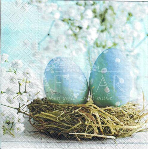 light blue colors E22 eggs 4 Single paper decoupage napkins Easter design