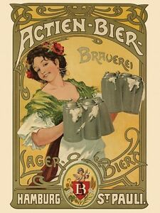 actien bier lager hamburg beer brauerei germany vintage poster repro free s h ebay. Black Bedroom Furniture Sets. Home Design Ideas