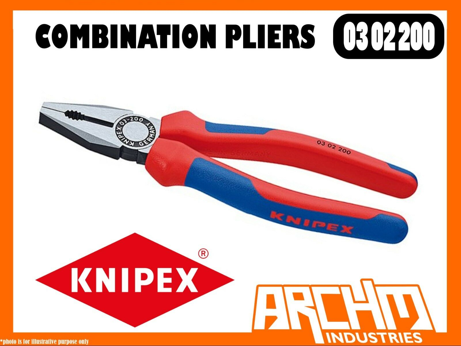 KNIPEX 0302200 - COMBINATION PLIERS - 200MM GRIP STEEL VERSATILE CUTTING EDGES