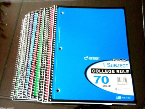 """10X Standards Spiral Notebook 1 Subject 70 sheets College Ruled 10.5/""""x8/""""$0.49//PC"""