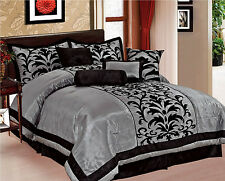 donna 8piece comforter bedding set flocking over sized king queen full 4 colors