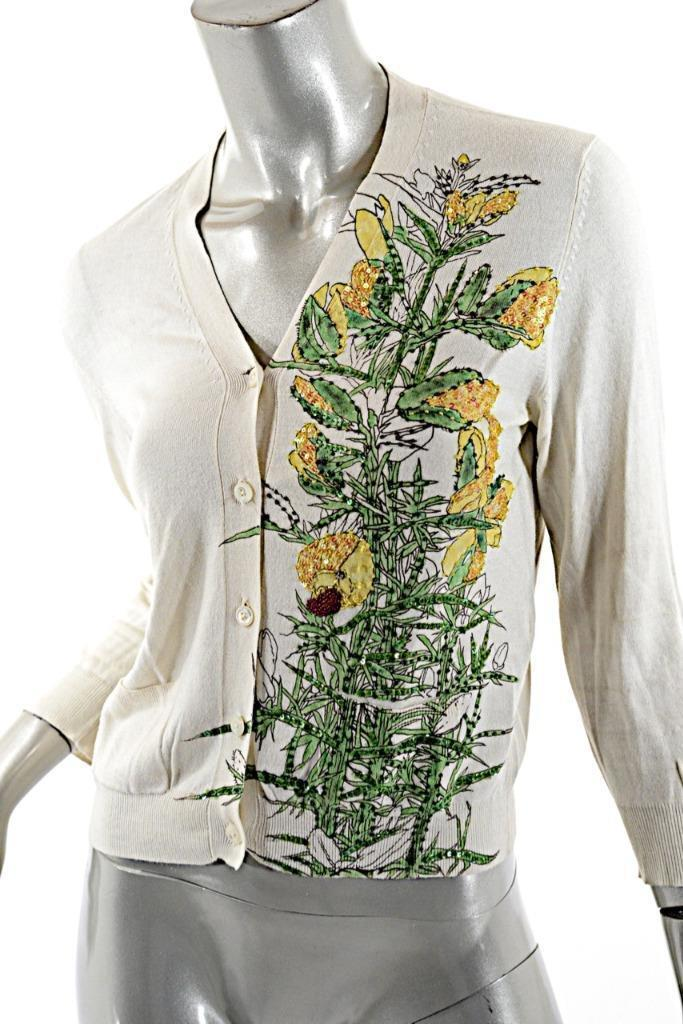 SAMANTHA SUNG London Ivory Cashmere Silk Blend Hand Painted Cardigan Sweater 6