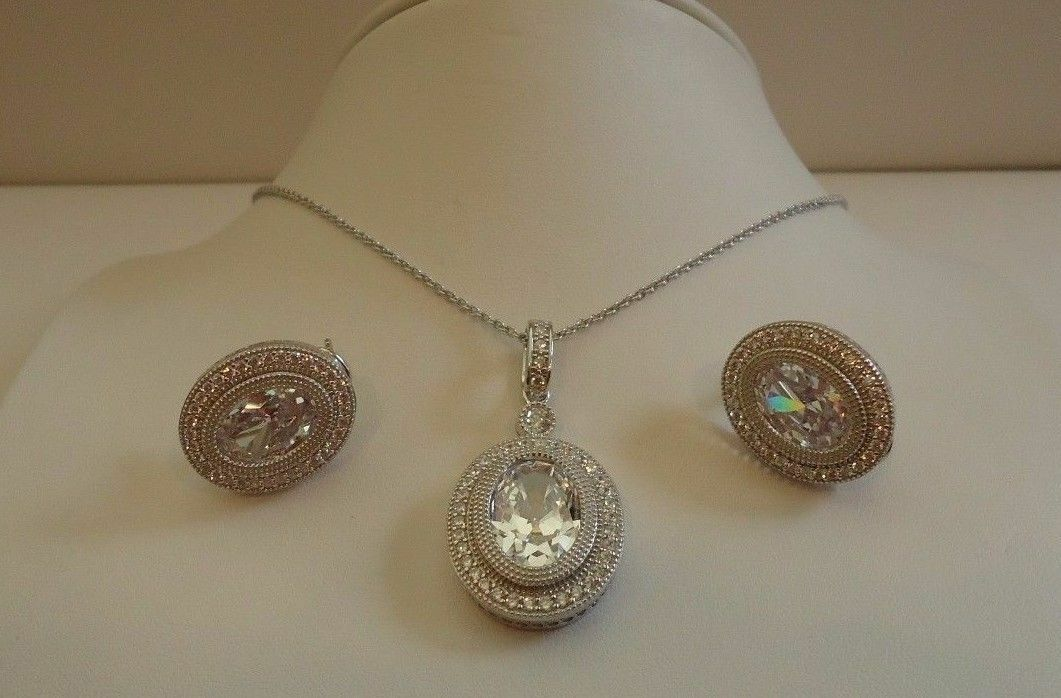 e96c805579910c 925 STERLING SILVER OVAL PENDANT NECKLACE & EARRING SET W/ 24 CT LAB DIAMOND