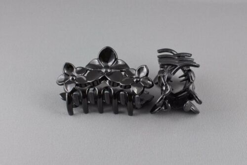 Black 2 hair clips flower plastic barrette jaw claw clamp clip set pack