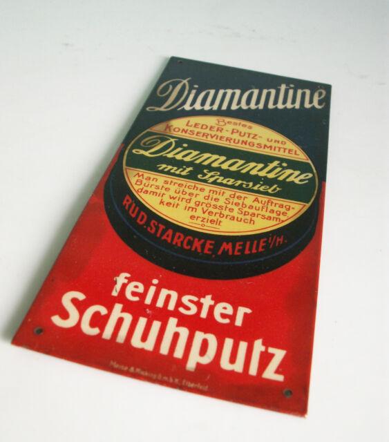 Original Diamantine Blechschild Türschild um 1930