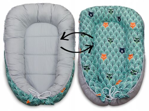 Baby 6pc Double-sided Soft Cocoon Infant Sleep Nest Bed Cushion FOX IN FOREST