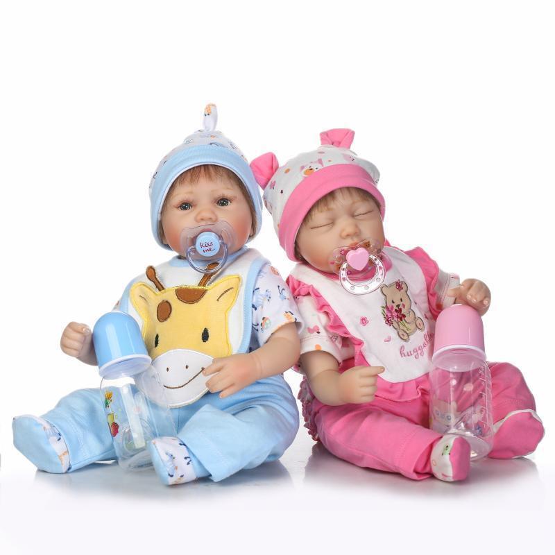 Recién 2 un. Bebe 17  Muñecas Reborn Bebé Gemelos Niño Niña Juguete De Vinilo De Silicona recién nacido