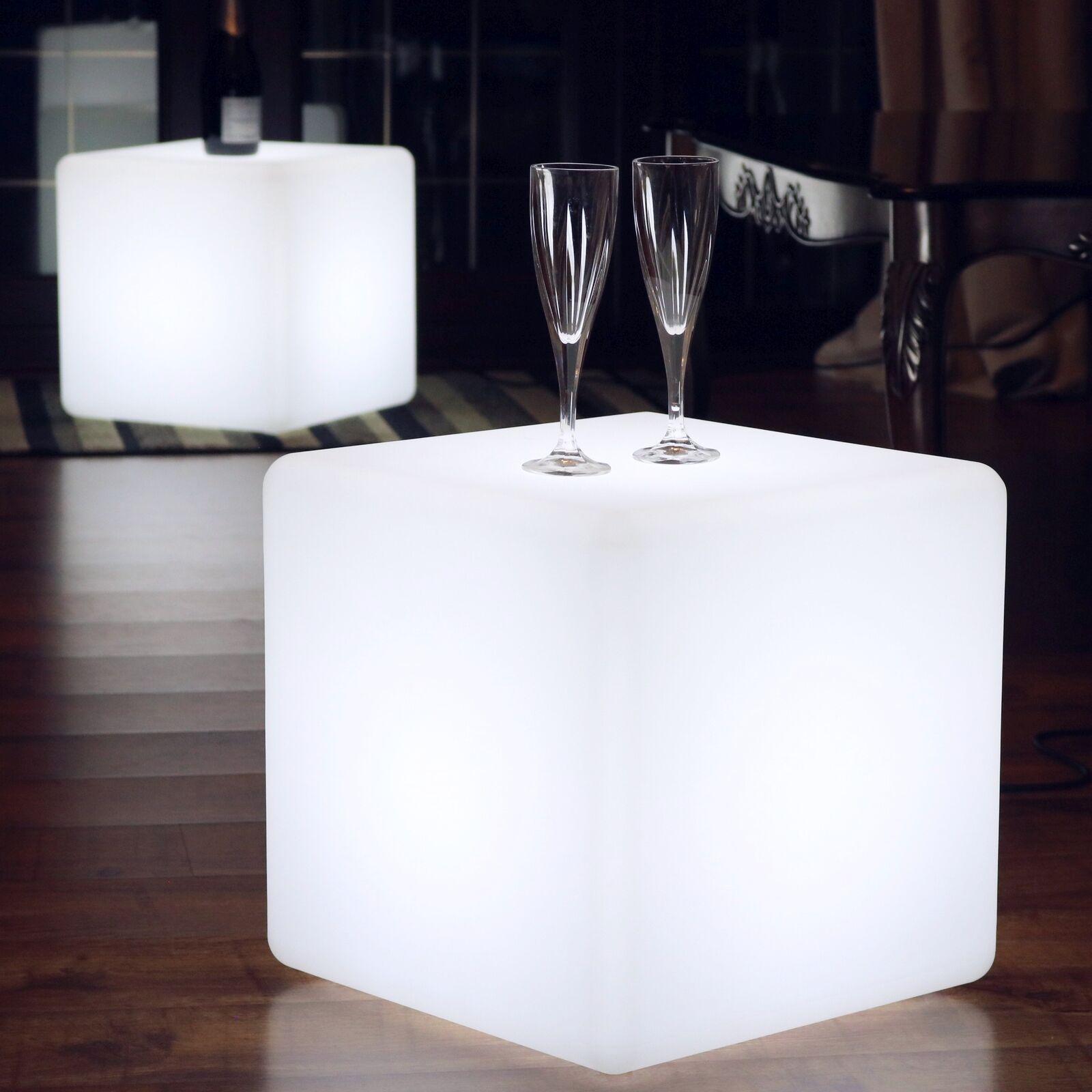 40cm Rete Led Cubo Sgabello Tavolo Pavimento Luce - Bianco da Pk verde