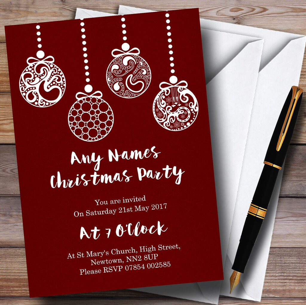 Deep Red Baubles Personalised Christmas Party Invitations