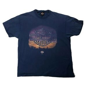 Vtg-Harley-Davidson-Indianapolis-Indiana-Shirt-Sz-XL-Blue-Short-Sleeve-Tee