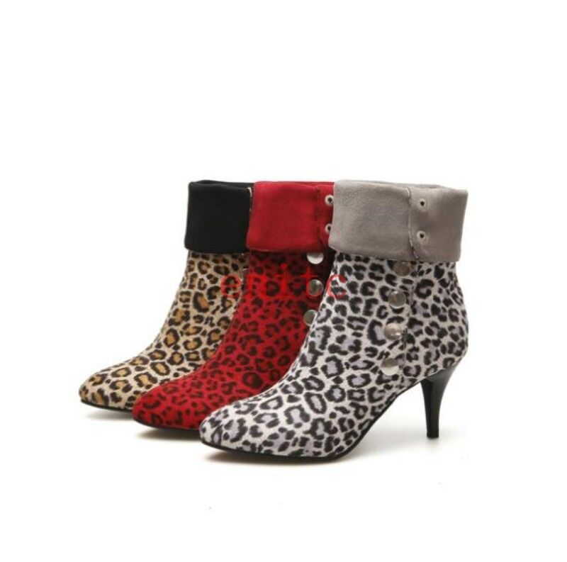 Sexy Leopard Stiletto Casual Button Womens Pointy Toe Mid-calf Boots Heeled shoes