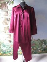Talbots Petites Woman Petities Maroon Pure Silk Pant Suit SZ 18/20W  NWT