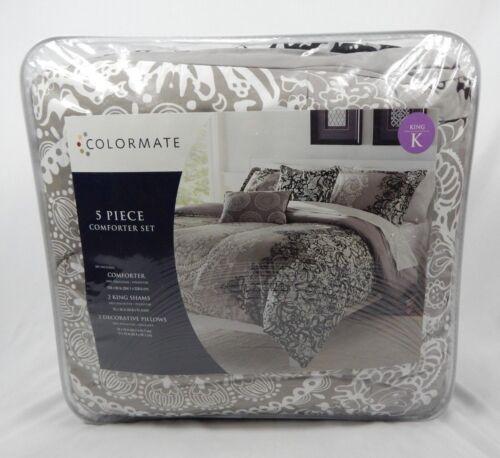 Colormate Beige /& Black Lace Medallion 5 Piece Comforter Set King Full//Queen