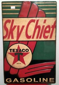 SKY-CHIEF-TEXACO-EMBOSSED-METAL-SIGN-GAS-GASOLINE-OIL-COLLECTABLE-AUTO-AMERICANA