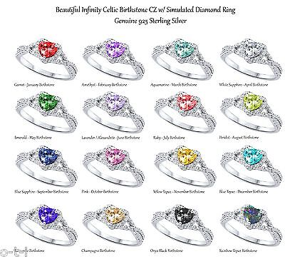 Heart Cut Promise Infinity Celtic Birthstone Sterling Silver Ring Size 4.5
