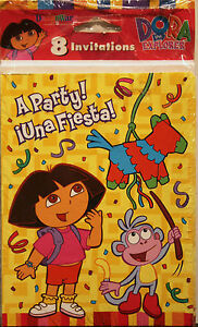 Image Is Loading DORA THE EXPLORER PARTY INVITATIONS Kids Birthday Bilingual