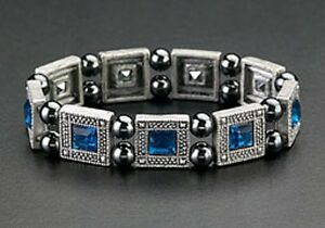 Blue-Crystals-Magnetic-Bracelets-Hematite-Beads-Therapy-Silver-Free-Shipping