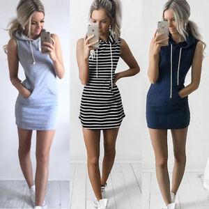 Damen-Sommer-Boho-Armellos-Minikleid-SWEATSHIRT-Tunika-Weste-Kleider-Sundress-A